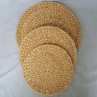 Lót ly dáng tròn đan bằng sợi lục bình đường kính D10 / D15 / D20 / D25 / D30 - Thảm lục bình lót ly chụp ảnh decor