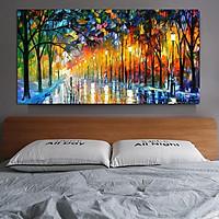 Frameless Street View Oil Painting for Living Room Bedroom Decoration