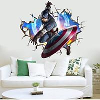 Tranh decal dán tường 3D siêu anh hùng - decal Biệt đội báo thù