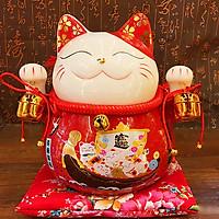 Mèo Thần Tài nhật bản đỏ giơ 2 tay-Đa Phú Quý 25cm