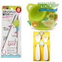 Bộ 1 Đôi đũa , 2 Thìa dĩa kèm 2 Bát chia ngăn hàng Nhật cho bé(Màu ngẫu nhiên)