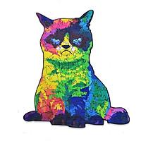 Bộ xếp hình gỗ đồ chơi puzzle ghép hình con vật, bộ xếp hình trí tuệ, quà tặng bạn bè - Mèo
