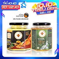 Combo Tinh bột nghệ nếp vàng 200g và mật ong rừng nguyên chất Honimore 360g - Giúp hỗ trợ cải thiện đau dạ dày, chăm sóc da, tăng cường sức đề kháng