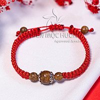 Vòng tay trầm hương chỉ đỏ may mắn Ngọc Cầu Trầm - Thành công,hạnh phúc - charm bạc S925 - Thiên Mộc Hương