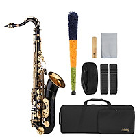 Muslady B-flat Tenor Saxophone Bb Black Lacquer Sax with Instrument Case Mouthpiece Reed Neck Strap Cleaning Cloth Brush