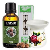 Combo Tinh Dầu Gỗ Thông Nomad Pine Essential Oils 50ml + Đèn Đốt Dạng Nến + 1 Hộp Nến Tealight 10 Viên