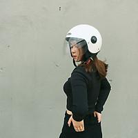 Mũ bảo hiểm 3/4 1 kính SUNDA 228 - Trắng ngọc trai