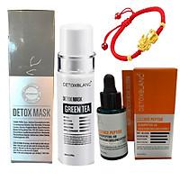 Combo Serum mờ nám, tàn nhang Essence Peptide 20ml Và Mặt nạ thải độc sạch da Detox Mask 150ml Detox Blanc - Tặng Vòng tay may mắn