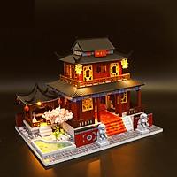 Mô hình nhà DIY Doll House Biệt phủ cổ Trung Quốc Kèm Đèn LED và Mica chống bụi