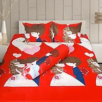 Set 3 món ga gối Poly cotton PL2 Đám cưới đỏ  + Tặng 1 vỏ gối ôm
