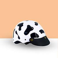 Mũ Bảo Hiểm Nửa Đầu Tem Hình Bò Sữa Khóa Đỏ Cao Cấp