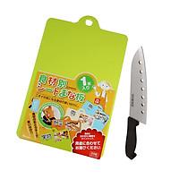 Combo Dao nhà bếp Inox có lỗ + Thớt nhựa dẻo màu xanh lá nội địa Nhật Bản