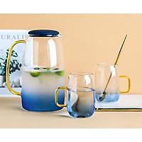 Bộ bình nước thủy tinh xanh dương