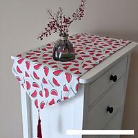 Khăn trải bàn table runner vải bố - Họa tiết Dưa hấu - mẫu F10