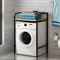 Kệ máy giặt 1 tầng KMG04 cho máy cửa trước, loại mặt gỗ chống nước, kiểu khung thép sơn tĩnh điện chống bong tróc, hàng được sản xuất tại Việt Nam