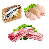 Combo 75: 1kg Cá saba Nhật + 1kg Cánh gà khúc giữa + 1kg Ba chỉ heo rút sườn