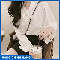 Áo sơ mi kiểu nữ T-mon cổ thắt nơ tay dài phong cách hàn quốc cực dễ thương cho các nàng diện đi học đi chơi