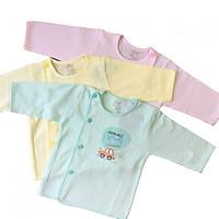 Combo 3 áo sơ sinh JOU - Mẫu tay dài cài lệch màu