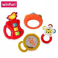 Set 4 món đồ chơi âm nhạc đàn Guitar kèm xúc xắc lục lạc cầm tay WINFUN 3131 cho bé sơ sinh tới 3 tuổi - BPA free