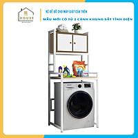 Kệ máy giặt 3 tầng Có Tủ KMG06 thương hiệu 9House,kệ để đồ trên máy giặt loại khung thép dày dặn sơn tĩnh điện chống bong tróc, gỗ lõi xanh phủ melamine chống nước cực bền, ,Sản xuất tại Việt Nam - Hàng chính hãng