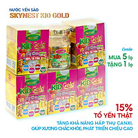 Combo 5 tặng 1, thực phẩm bổ sung Nước yến sào SkyNest Kid Gold Vị dâu (70ml x 6 lọ), tăng cường hấpthụ canxi, chất xơ giúp phòng chống táo bón, kích thích tiêu hóa
