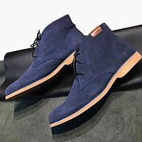 Giày nam cao cổ buộc dây da bò lộn cao cấp màu xanh Navy 1441 Sr7 - Giày boots nam cổ thấp buộc dây
