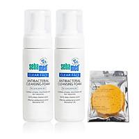 Combo 2 Sữa rửa mặt tạo bọt kháng khuẩn ngừa mụn Sebamed pH5.5 Clear Face AntiBacterial Cleansing Foam 50ml + tặng bọt biển rửa mặt sạch sâu