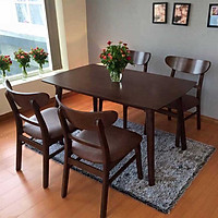 Bộ bàn ăn gỗ 4 ghế Mango