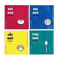 Combo Ehon Nhật Bản ĐỒ VẬT QUANH BÉ: Bát Nhỏ + Cốc Nhỏ + Đĩa Nhỏ + Thìa Nhỏ (Bộ 4 Cuốn Phát triển trí tuệ 0 - 4 tuổi/ Tặng kèm bookmark Happy Life)