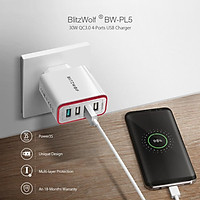 BlitzWolf BW-PL5 30W QC3.0 Fast Charging 2.4A 4-Ports USB Charger EU Plug Adapter with Spower for HUAWEI P20 Mate20 Pro Xiaomi MI9 S10