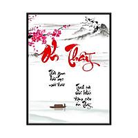 Tranh Treo Tường - Mẫu tranh in chữ thư pháp - Ơn Thầy - TOT01 - Kích thước 30x40cm - Hàng Chính Hãng