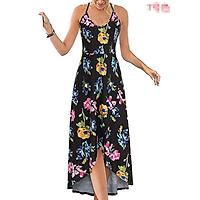 2021 summer new women's dress round neck print suspender dress irregular long skirt