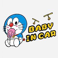 Doraemon Baby in car - Sticker transfer hình dán trang trí Xe hơi Ô tô size 18x11cm