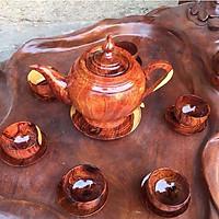 Bộ ấm gỗ Cẩm cao cấp có dĩa (1 ấm+ 6 chén + dĩa)