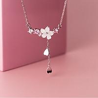 Dây chuyền nữ nhành hoa đào dây chuyền bạc nữ hình chứ Y với thiết kế bông hoa đào dễ thương có tùy chỉnh được cỡ dây DB2626 Bảo Ngọc Jewelry
