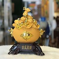 Tượng Chuột Phong Thủy Trên Hũ Tiền Mạ Vàng