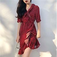 Đầm suông bi đỏ lụa đắp chéo cột nơ bên eo ( dưới 60kg)