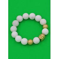 Vòng tay san hô trắng 14 ly VSHTNLVHB14 - Chuỗi Như lai inox vàng kèm 2 bi - Chuỗi đá phong thủy, đem lại bình an, thuận lợi, may mắn - Chuỗi tay Size lớn