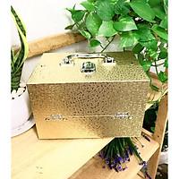 Hộp trang điểm đa năng có khóa hoa văn sang trọng màu gold và bạc ánh kim