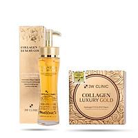 Combo Tinh chất dưỡng da ngăn ngừa lão hoá và Mặt nạ dưỡng mắt 3W Clinic Collagen & Luxury Gold