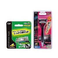 Combo Set 4 lưỡi dao thay thế KAI (dao 5 lưỡi kép, hộp xanh)+ Dao cạo 5 lưỡi kép KAI (1 thân,1 lưỡi,hộp đỏ) -Nội địa Nhật Bản
