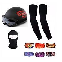 Bộ 1 nón bảo hiểm 1/2 đầu DEADPOOL Tặng 1 mũ ninja + 1 đôi bao tay chống nắng + 1 kính phượt + 1 khăn phượt