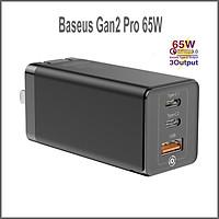 Củ Sạc Nhanh Baseus GaN2 Pro Quick Charger 65W Màu Đen (Type C x 2 + USB, Multi Quick Charge Protocol) - Hàng Chính Hãng