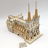 Đồ chơi lắp ráp gỗ 3D Mô hình Nhà Thờ Đức Bà Laser