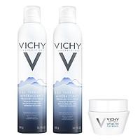 Bộ 2 Nước Khoáng Dưỡng Da Vichy Mineralizing Thermal Water (300ml / Chai) Và Kem Dưỡng Chống Nhăn & Làm Săn Chắc Da Ban Đêm (15ml)