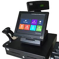 Trọn bộ máy tính tiền cảm ứng 12 in TOPCASH POS QT-66 với phần mềm bán hàng vĩnh viễn kèm máy in hóa đơn kèm máy quét mã vạch và két đựng tiền với màn hình khách xuay đa hướng - Hàng chính hãng