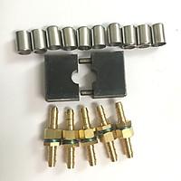 Combo bộ khuôn ép bấm đầu dây xịt rửa xe kèm 5 đầu nối đuôi chuột 8.5mm và 10 chén lót inox 15mm dùng cho dây xịt rửa xe áp lực cao loại thông dụng lỗ 8.5mm