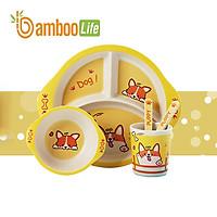 Bộ khay ăn dặm cho bé từ sợi tre thiên nhiên Bamboo Life BL008 hàng chính hãng Dụng cụ ăn dặm cho bé Bộ chén bát ăn dặm cho bé Đồ dùng ăn dặm cho bé