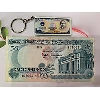 Tờ tiền cổ 50 đồng hoa văn xanh dương - kèm móc khóa hình tiền xưa