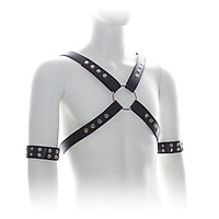 Sexy Leather Chest Harness Straps Mens Body Bandage with Arm Band Costumes